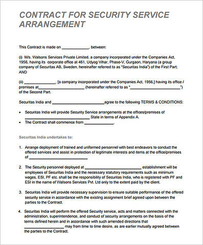 Security Contract Proposal Template